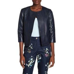 Ted Baker Rennay Crop Sleeve Leather Jacket Sz 2